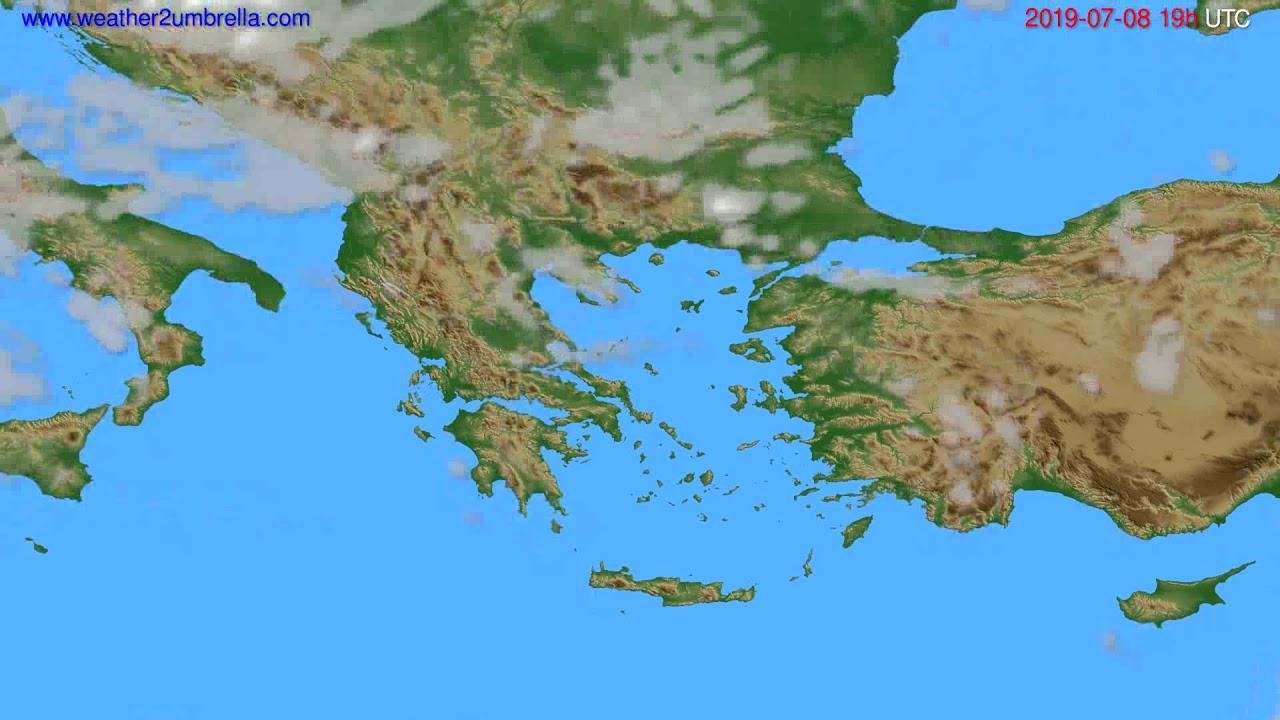 Cloud forecast Greece // modelrun: 12h UTC 2019-07-05