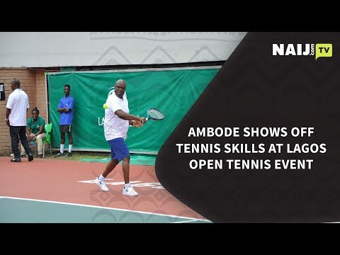 Nigeria Latest News: Ambode Shows Off Tennis Skills At Lagos Open Tennis Event | Legit TV