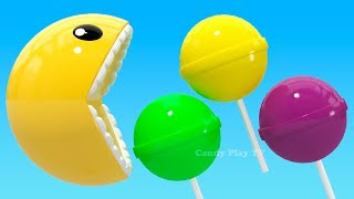 Learning Colors with 3D Pacman Lollipop for Kids Children Toddlers   Learn Colors With 3D Pacman