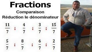 Maths 6ème - Fractions comparaison et réduction le dénominateur Exercice 7