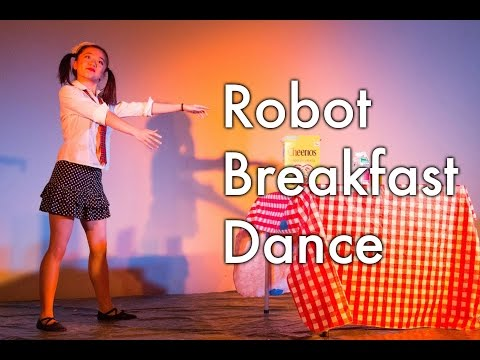 Girl Robot Dance Funny robot making breakfast