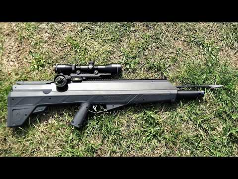 Benjamin Airbow & Bishop Archery 875 gr  30yrd vs Cinder block