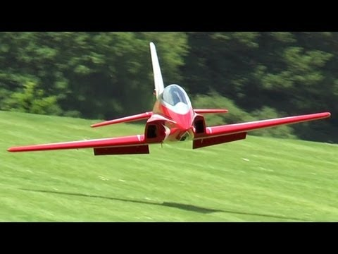jet - Pilot Rainer Kamitz puts the amazing 8-foot radio-controlled 'Futura' jet through its paces at an airshow in Langenau, Germany. Rainer Kamitz beim Flugtag de...