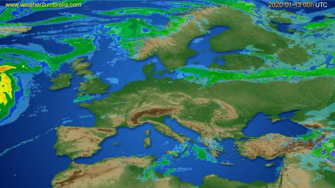 Radar forecast Europe // modelrun: 12h UTC 2020-01-12