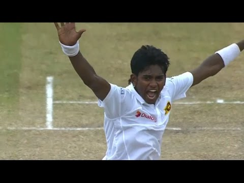 Young left-arm paceman Binura Fernando bowling for his school