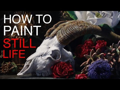 Still life painting tutorial - vanitas with goat skull and flowers
