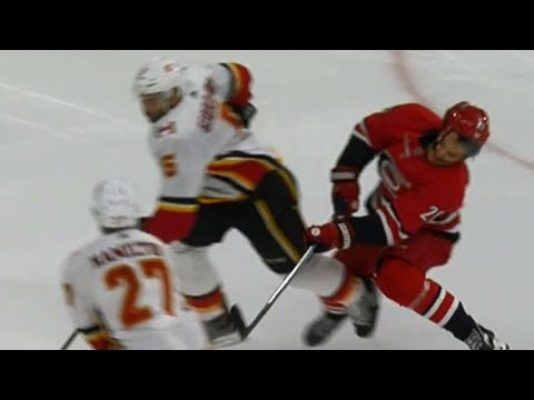Video: Gotta See It: Aho taken out by Giordano, needs assistance to leave ice