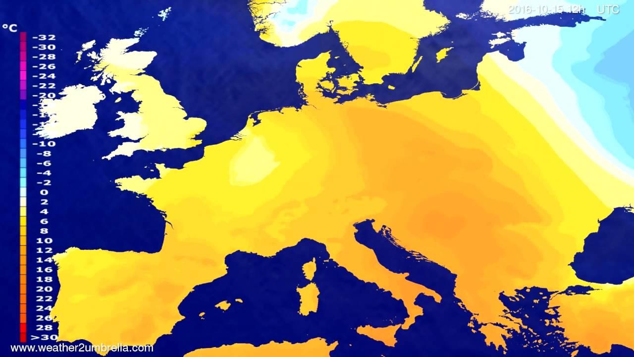 Temperature forecast Europe 2016-10-13
