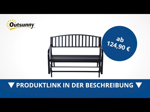 Outsunny Schaukelbank Gartenbank Gartenschaukel Sitzbank Metall 2-Sitzer Schwarz - direkt kaufen!