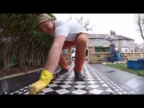 AB TILING - Victorian Tiles Outside Pathway TIME LAPSE