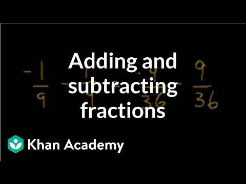 khanacademy - Learn more: http://www.khanacademy.org/video?v=52ZlXsFJULI How to add and subtract fractions.