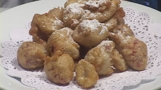 "This video demonstrates a perfect method for frying these two fruits with a soufflé fritter batter and joined by a sweet warm sabayon sauce. The cook could certainly serve these fruits with chocolate or cold vanilla sauces as well and even whipped cream.   Both of these preparations represent the classic French approach for this type of preparation.  The cook can use other fruits such as apple, pear, apricots and peaches with this method and be very pleased with the outcome.  Of course, the individual fruits can be flavored a variety of ways prior to being battered such as demonstrated here with tossing the strawberries in Gran Marnier prior to the flouring stage.  All in all, this is a great winter dessert and also has a ""date night"" quality to its preparation, presentation and consumption."