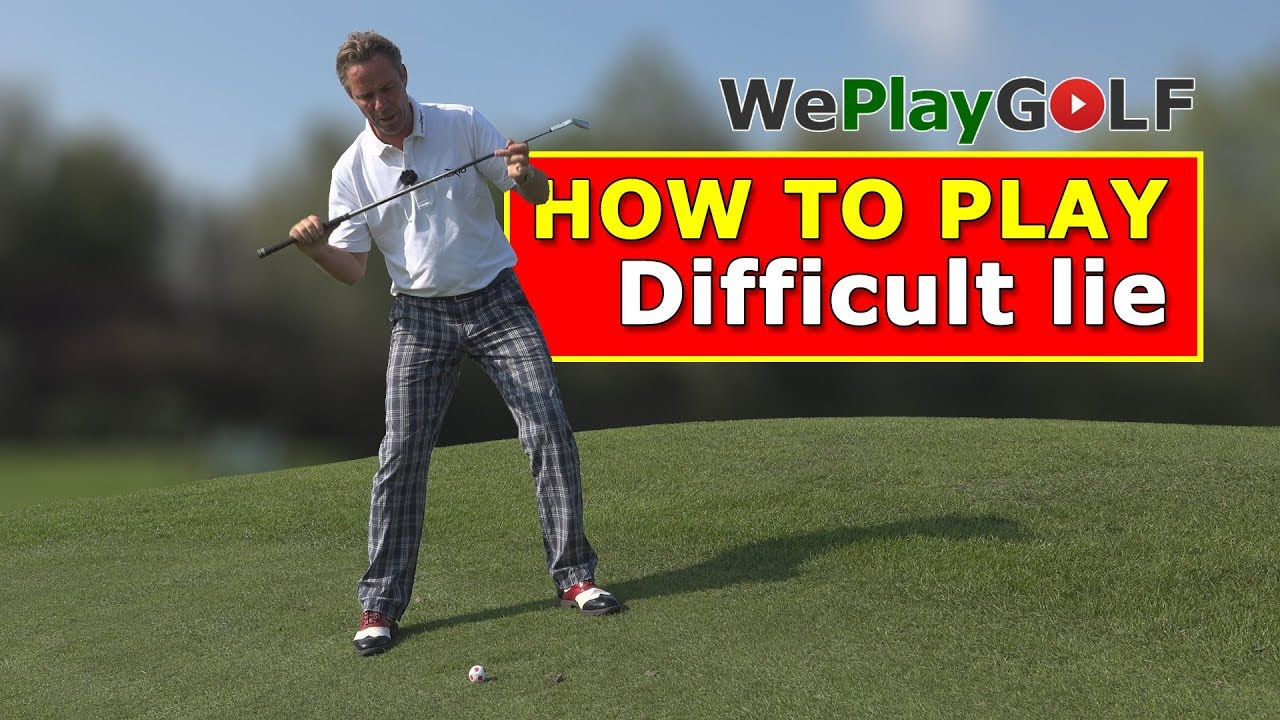 How to play a golf ball below the feet in an uphill lie?