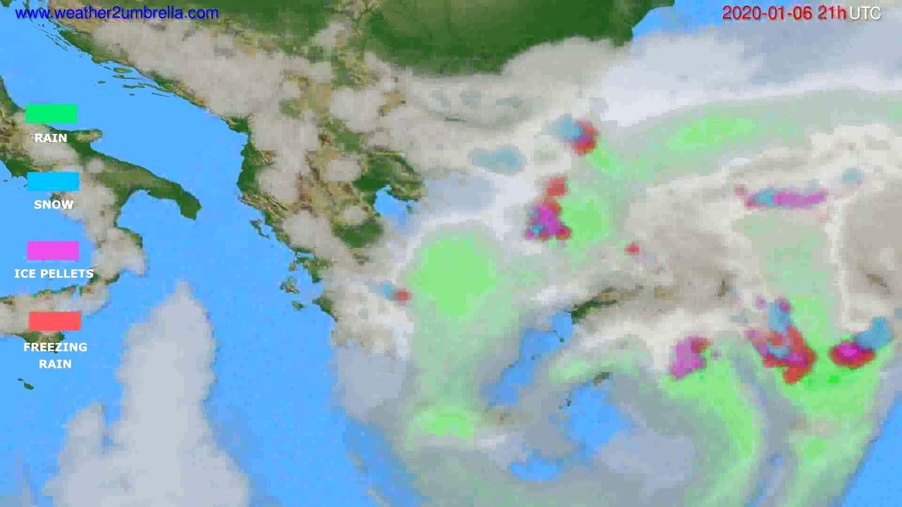 Precipitation forecast Greece // modelrun: 12h UTC 2020-01-05
