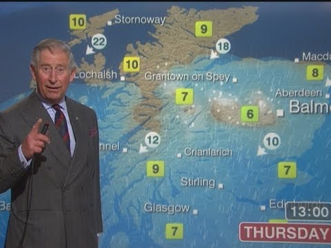 Forecast - The Prince of Wales has given weather forecasting a try during a BBC Scotland television studio tour. Report by Adam Sich. Like us on Facebook at http://www....