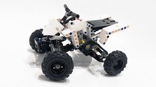 - independent front suspension- dependent rear suspension- one cylinder engine working by rear axleInstruction:http://rebrickable.com/mocs/Fanylover/yamaha-sport-quad-bike