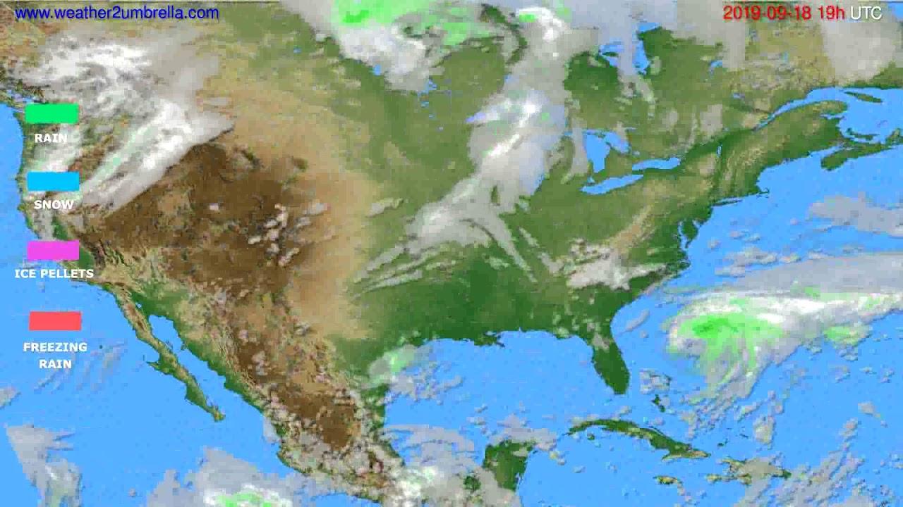 Precipitation forecast USA & Canada // modelrun: 12h UTC 2019-09-15