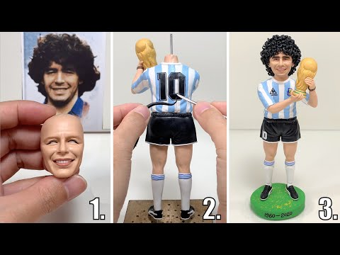 Remembering Diego Maradona, polymer clay sculpture of Argentine football legend【Clay Artisan JAY】