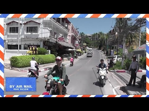 Koh Samui – Drive from Chaweng Beach Road North to Big Buddha in Bophut – songthaew taxi