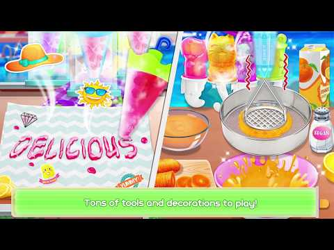 Frozen Rainbow Ice Pops & Ice Cream Cooking Games