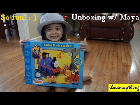 Hard to Find Thomas & Friends Toys: Unboxing Sodor Fix-It Station by TOMY w/ Maya