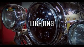Pauly updated the lighting on his RoadKing with the J.W. Speaker Adaptive LED Headlight and LED spotlights. These headlights...