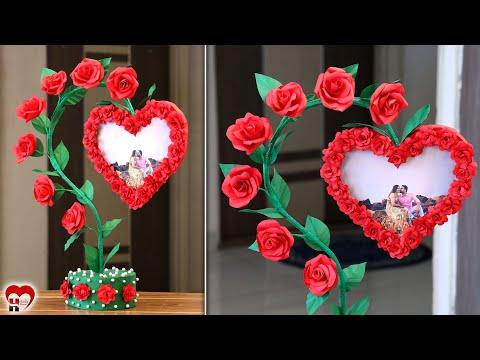 Love Couple!!! Paper Heart Photo Frame Making Idea