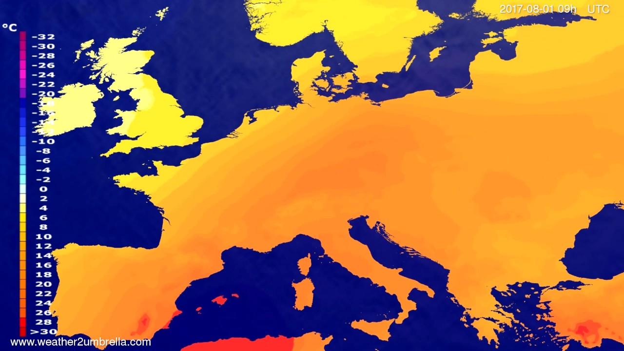 Temperature forecast Europe 2017-07-28