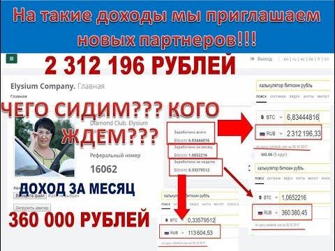 РЕАЛЬНЫЕ ДОХОДЫ ПАРТНЕРОВ #ЭЛИЗИУМ!!!!!!