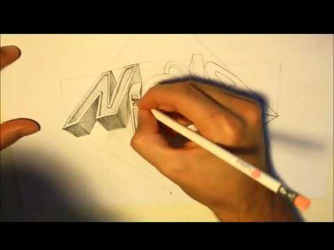 Scritta 3d (speed drawind) disegno a mano
