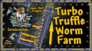 """[Warning: Not multi-player server compatible.] Vertical farm powered by a hoik engine, produces Truffle Worms at about 340 per hour (~6 per minute). Full video tutorial on it's form and function, including information on spawn ranges, rates and conditions. Explains the relatively simple wiring and how to use it AFK.Written guide: http://forums.terraria.org/index.php?threads/turbo-truffle-worm-farm-vertical-hoik-engine-powered-spawn-area-tutorial.10152/Info-gram of most important information about this build: http://imgur.com/a2m8QDFWorld download (rough) of this build: https://www.dropbox.com/s/pe2i5nfc30w1kgc/Hoik_Demo_WorldV0_2_1%28TruffleFarm%29.wld?dl=1+1.3.0.5 UPDATE NOTE!: - T-worm output reduced to ~56% (192 per hour), since other mobs can kill them. - Total money output from farm is now ~24platinum/hour, mostly from the worms at 10 gold each.- Flame trap cooldown time increased from 3s to 3.33s, but only causes small gaps in firing pattern, so little effect (4s cycle now, instead of 3s).*Check out this brilliant new design by DicemanX for near perfect optimisation: http://forums.terraria.org/index.php?threads/showcase-truffle-worm-autofarm-v2-0-vastly-improved-in-1-3-expert-mode.36663/+REFERENCES:- DicemanX's """"Updated truffle worm farm (~300 worms/hr)"""": http://youtu.be/o0TJzRwSFUQ- Size 1 Item hoiks (same basics as this):      Horizontal: http://youtu.be/uUSFFvl0uZM?t=1m46s.     Vertical: http://youtu.be/uUSFFvl0uZM?t=5m16s.- Hoik Engines Guide: http://forums.terraria.org/index.php?threads/fastest-engines-measured-with-hoiktroic-binary-skeleton-counter-video.6464/- NPC spawn ranges & rates (Wiki): http://terraria.gamepedia.com/NPC_spawning- Truffle worms (Wiki): http://terraria.gamepedia.com/Truffle_Worm- Trap Characteristics Cheat Sheet (T-MEC):  http://forums.terraria.org/index.php?threads/project-engineering-cheat-sheet-trap-characteristics.5362/+CREDITS:-All footage shot in Terraria 1.2.4.1 for PC.-No mods or 3rd party content.-TEdit used extensively for"""