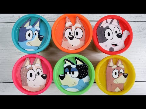 Learn Colors with BLUEY Play-doh Toy Surprises with Bingo, Mum & Dad