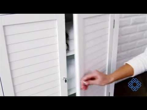 Video for Slone Floor Cabinet with Two Shutter Doors in White