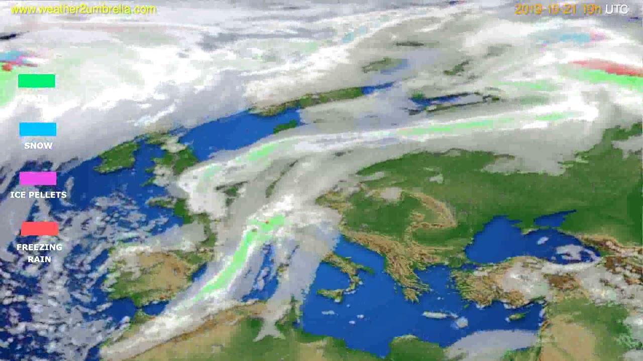 Precipitation forecast Europe // modelrun: 12h UTC 2019-10-18