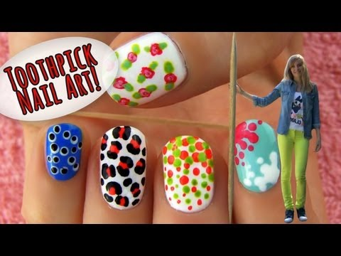 Nails - Use a toothpick to make pretty nail art designs! Toothpick can be used as a dotting tool in nail art to create tons of cool nail art designs. With a toothpic...