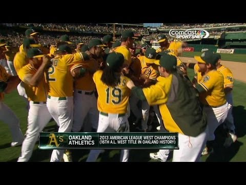 AL West - 9/22/13: Evan Scribner strikes out Josmil Pinto to end the game and start the celebration as the A's clinch the American League West Check out http://MLB.com...