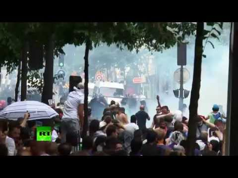 Stones and Teargas%3A Police clash with pro-Palestinian protesters in Paris