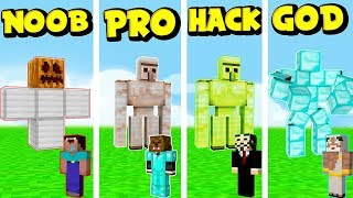 NOOB VS PRO VS HACKER VS GOD GOLEM DEFENSE CHALLENGE!