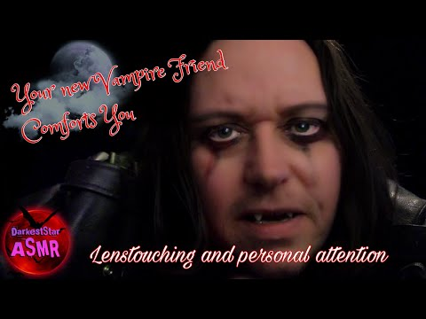 ASMR Your new Vampire friend comforts You #lenstouching #leathercrinkles