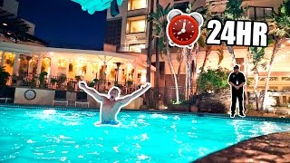 SNEAKING INTO HOTEL POOL (OVERNIGHT CHALLENGE)