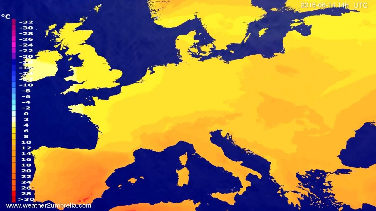 Temperature forecast Europe 2016-06-10