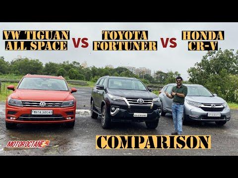 2020 Toyota Fortuner vs VW Tiguan All Space vs Honda CR-V Comparison | Hindi | MotorOctane