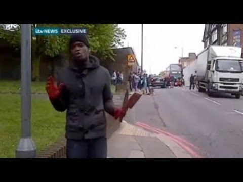 terrorist - More info: http://www.itv.com/news/update/2013-05-22/exclusive-video-man-with-bloodied-hands-speaks-at-woolwich-scene/ http://www.davidpakman.com Become a Me...