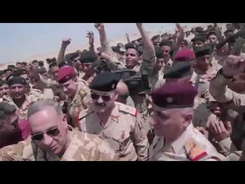 خالد العبيدي يصل الى معسكر بسماية ويودع أبطال اللواء 34 المتوجهين إلى تحرير نينوى