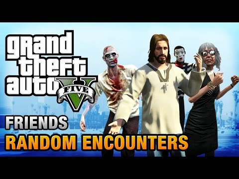 Random - Walkthrough / Guide and location of the 14 friends marked with blue / white dots on the map in Grand Theft Auto V Watch all the Random Events in GTA V: http://youtu.be/aENOf8STbd8 GTA V Achieveme...