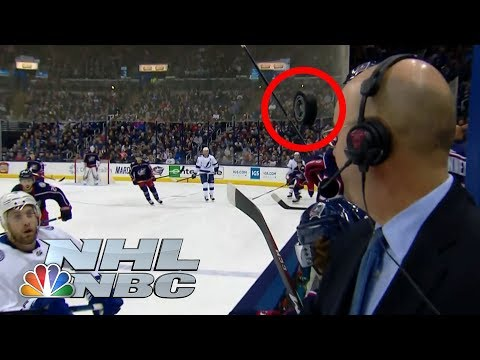 Video: Pierre McGuire narrowly misses a hockey puck to the face | NHL | NBC Sports