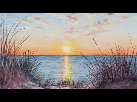 Sand Dunes Beach Sunset Seascape- Acrylic Painting LIVE Tutorial