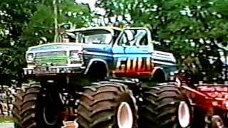 Monster Truck Classics from 1987. Old Skool Sled Pulling.