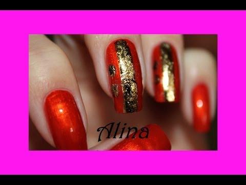 Фольга красная ногти