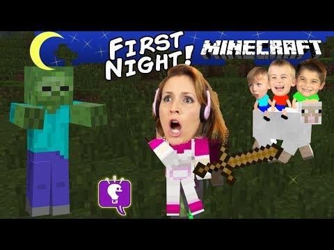 HobbyMom's First Night+Worm Attack! Minecraft Family Fun with Sheep HobbyKidsTV (видео)